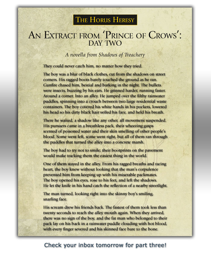Part two of the extract from 'Prince of Crows'